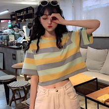 korean Rainbow stripes short Tops Tees Summer Women T Shirt Short Sleeve O-neck