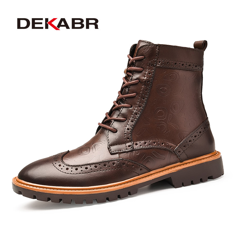 DEKABR High Quality Genuine Leather Bullock Men Boots Totem Style Designer Autumn Ankle Boots Waterproof Motorcycle
