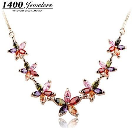 Venta caliente de la joyería de la marca T400, hecho con AAA collar de circón colgante, para las mujeres, hermoso girasol #10116, envío libre
