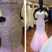 Real Photos Abendkleider 2016 Gorgeous Long Mermaid Pink Evening Dress Prom Dress With Full Sequins And