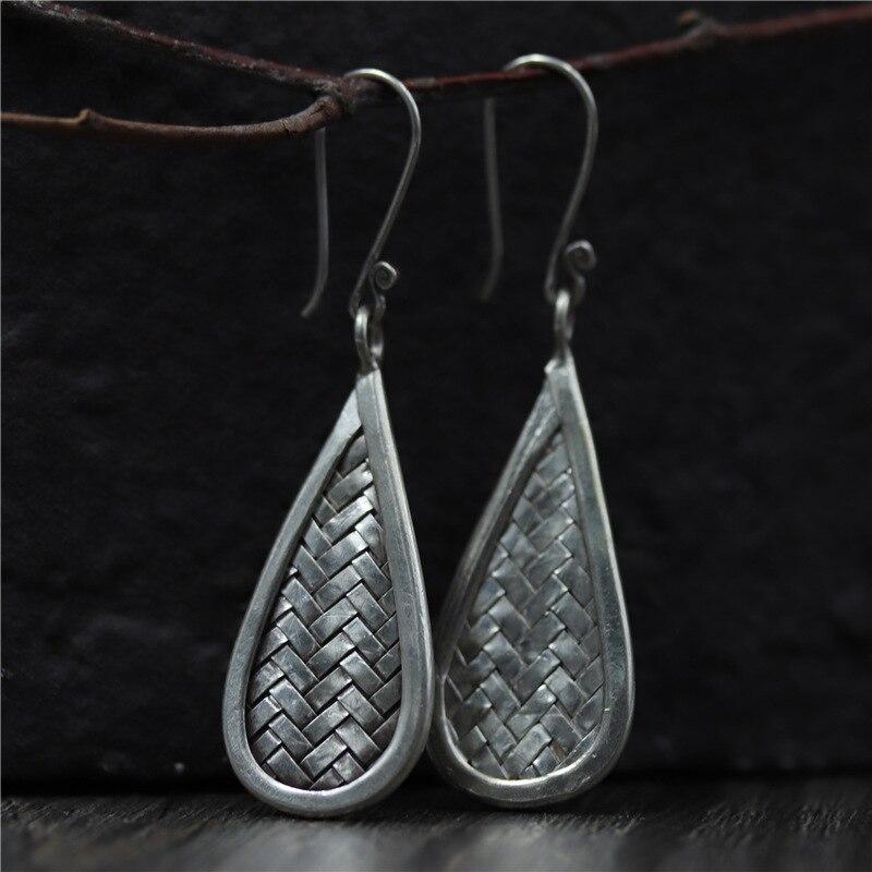 C&R Real 925 Sterling Silver Earrings for Women Braided Water Drop Molding Thai Silver Drop Earrings Handmade Fine Jewelry