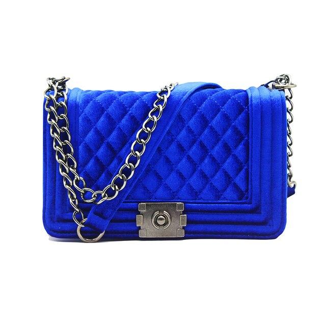 big big! handbag quilted chain bag blue Velvet Women Bags pochette sac femme  Women Shoulder