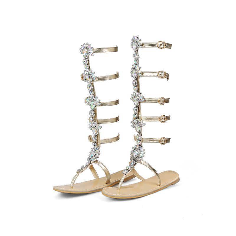 Estilo Oro Strass Jiu 34 Planas Mujer Más Zapatos Doblada Nan Tamaño Romano Montaña De Sandalias 44 Cadena nPk8w0OX