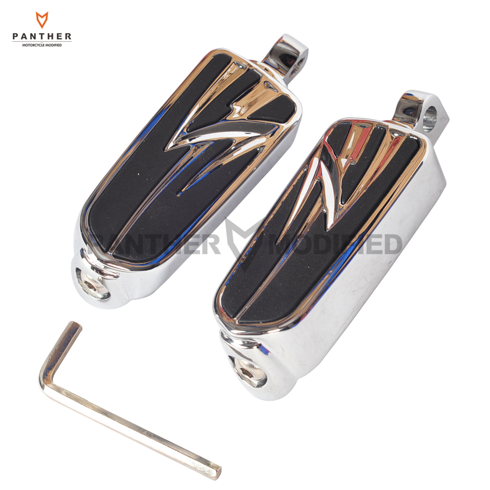 Universal 10mm Chrome Motorcycle Foot Pegs Moto Foot Rest case for Harley Street Road Glide King Dyna