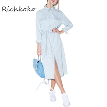 Richkoko Джинсовая Мода Midi Dress Синий Старинные Однобортный Рулевой Талия Платья Повседневная Sweet Мода Стенд Воротник-Line Dress