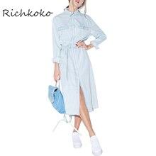 Richkoko Fashion Denim Midi font b Dress b font Blue Vintage Single Breasted Tie Waist font