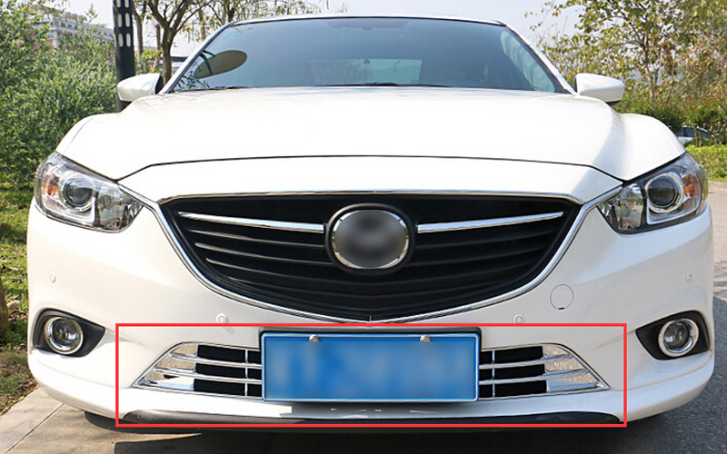 2pcs Chrome Front Bottom Grille Grill Frame Protector Cover Trim for Mazda 6 M6 Atenza 2013 2014 2015 Car styling car styling for ford ecosport 2013 2014 2015 2016 abs chrome bottom grille cover frame car racing grills trim auto accessories