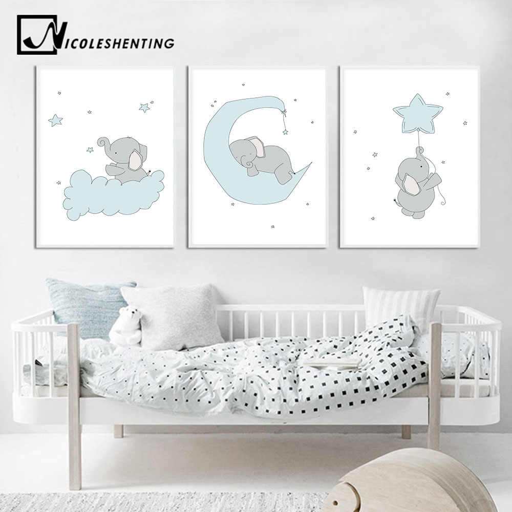Baby Nursery Wall Art Canvas Print Cartoon Blue Elephant Poster Painting Decorative Picture Nordic Kids Boys Bedroom Decoration