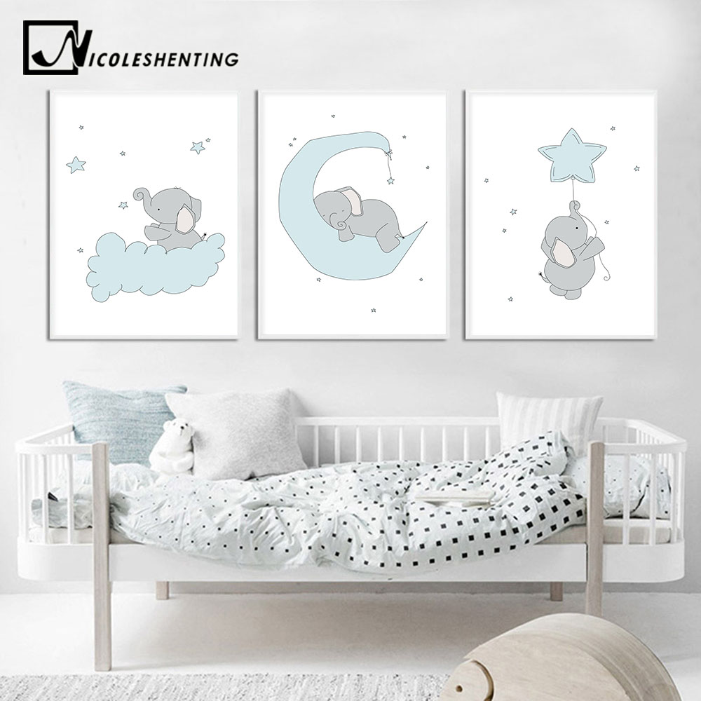 Baby Nursery Wall Art Canvas Print Cartoon Blue Elephant ...