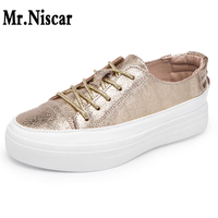 Cow Genuine Leather Loafers Women Spring Autumn Flat Platform Sneakers Round Toe Lace Up Casual Shoes Lazy Black Gold Silvers