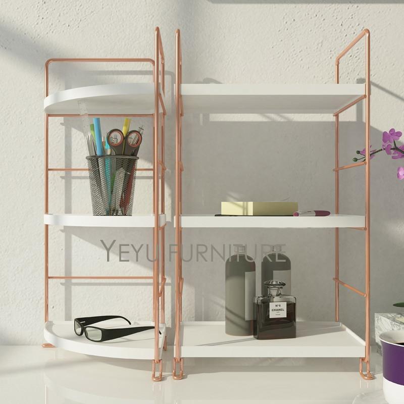 Brand-new Modern Design Rose gold metal Makeup Organizer Rack, Office  LE92
