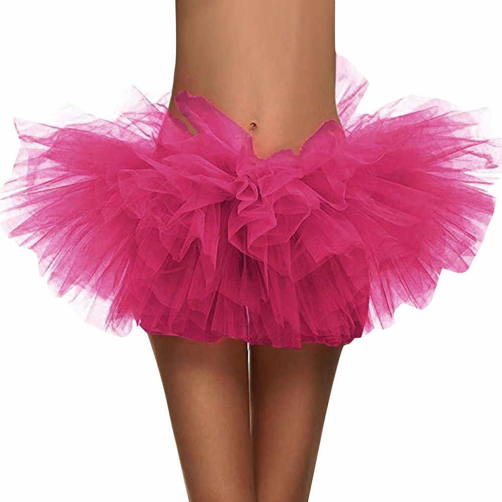 Letnie spódnice damskie 2019 błyskotka elastyczna 5 warstwowa krótka spódnica dorosłych Tutu taniec spódnica Tutu mini faldas mujer moda 2019 # N45