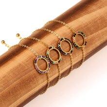 Round Sunflower Wrist Bracelet Women Girl Japan Miyuki Seed Beads Stainless Steel Rainbow Bracelets Female Pulsera Jewelry Gift