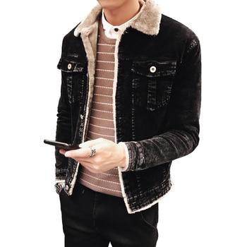 Men Fashion Denim Jackets Autumn and Winter Black Denim Jacket Thick Wool Coat Male Plus Velvet Denim Jacket Size L-3XL 4XL