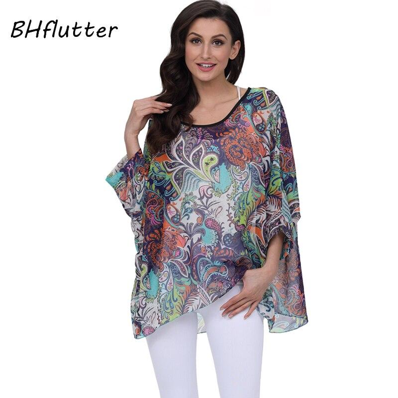 b693919ac3 BHflutter 2018 Women Blouse Shirt Plus Size 4XL 5XL 6XL Batwing ...