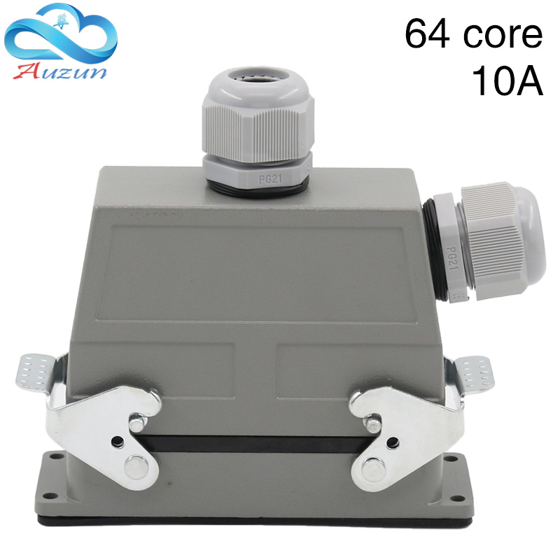 Rectangular heavy-duty connector 64 core cold air plug hdc-hd-064 waterproof plug 10A double outlet holeRectangular heavy-duty connector 64 core cold air plug hdc-hd-064 waterproof plug 10A double outlet hole