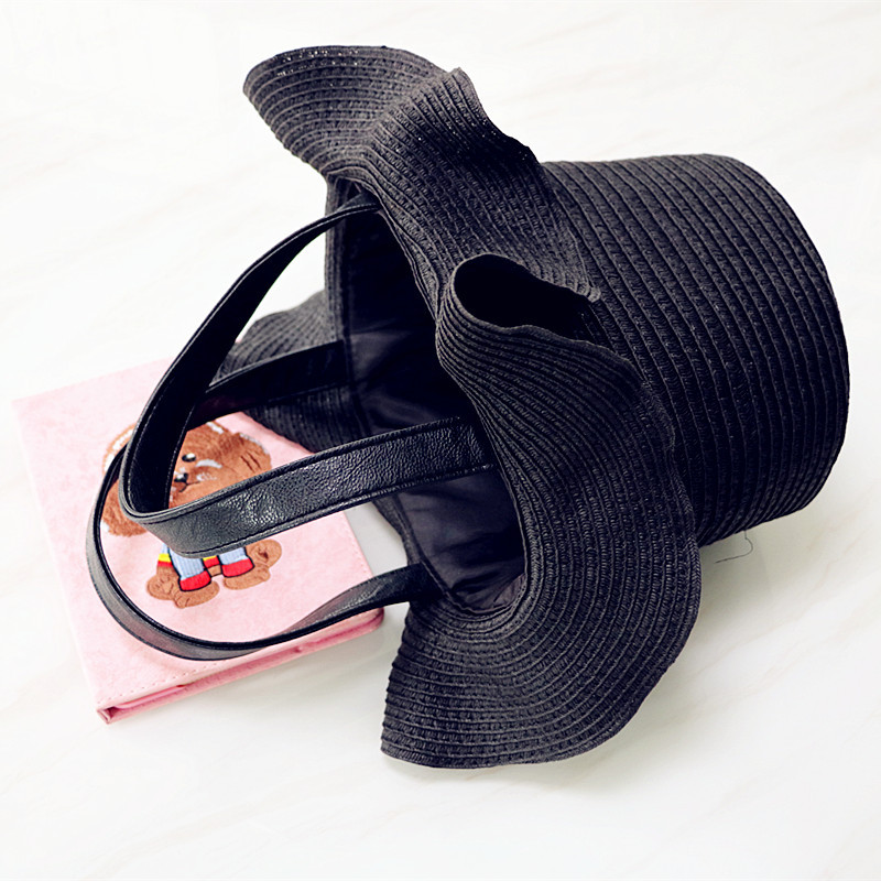 Women's Special Hat-shaped Bag for Summer Vacation,Straw Woven Bag, Single Shoulder Bag, Beach Bag stylish bowknot decorated wavy edge beach straw hat for women