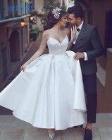 BRITNRY 2019 Spaghetti Straps Ball Gown White Stain Short Wedding Dress