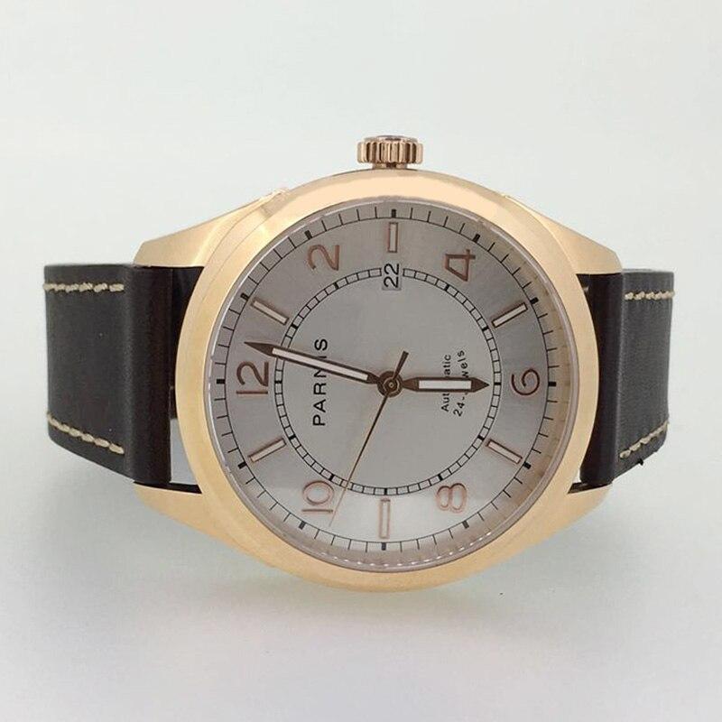 Parnis Mechanical Men Watches Leather Wristwatch Clock Waterproof Sapphire Crystal Auto Date Luminous Automatic Men's watch 2019