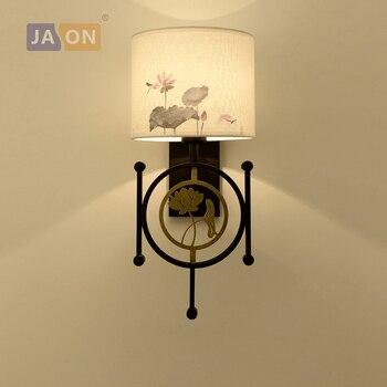 Led e27 Trung Quốc Sắt Vải Vàng Lotus LED Đèn LED ánh sáng Tường đèn Tường Ánh Tường Đèn Treo Tường Cho Foyer Phòng Ngủ hành lang
