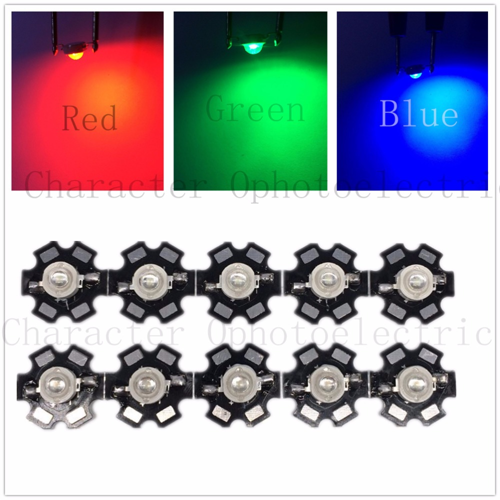 Hot 100 pcs 1W/ 3W High Power red 610-630nm green 510-530nm Blue460-475nm LED with 20mm star PCB