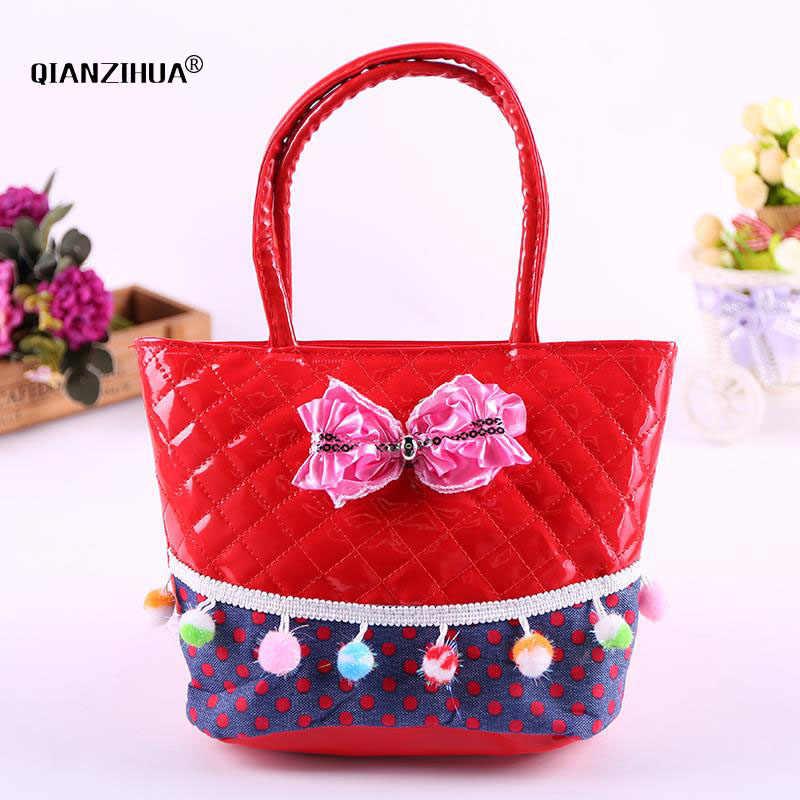 ... New Cute Kids Tote Girls Shoulder Bag Mini Bag Bowknot Handbag Designer  PU Children baby tassel ...