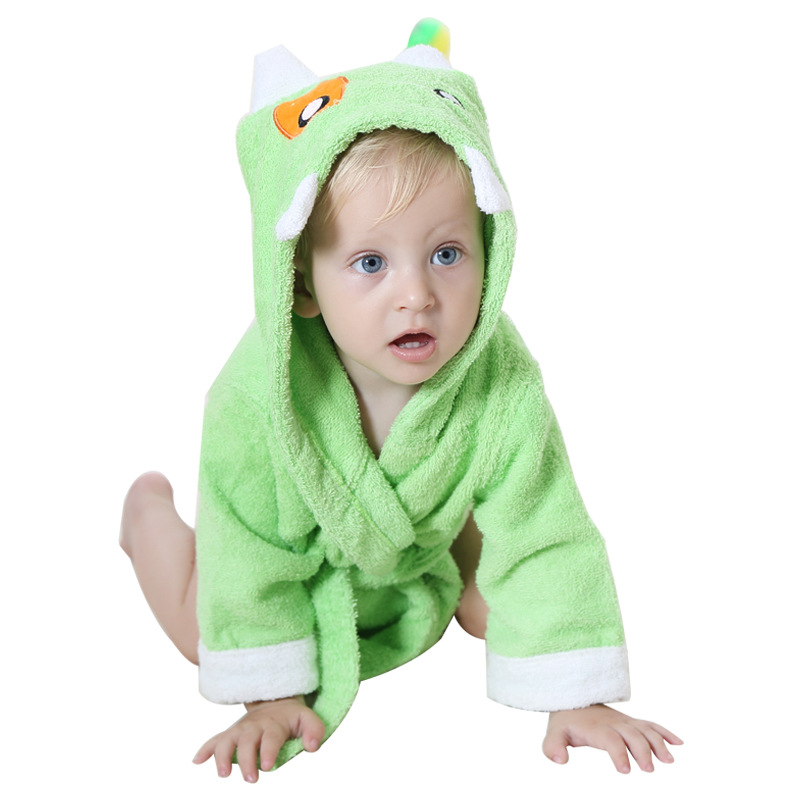 KID STATION Fashion Hooded Animal Cartoon Baby Towel Cute Children Kid Bathrobe Robe Infant Beach Spa Towels 0-12Month
