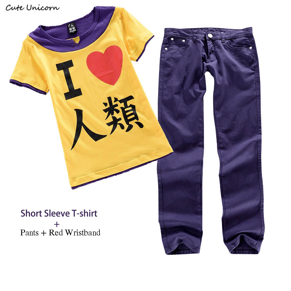 Cute Unicorn No Game No Life Sora Cosplay Costume Short Sleeve T-Shirt + Pants mens casual trousers boys clothes summer top tees