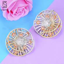 Siscathy 2019 New Design Trendy Hollow Women Stud Earring Big Round korean bohemian Statement Earrings Jewelry For Girls Gift