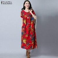 ZANZEA Women Short Sleeve O Neck Pockets Mid Calf Dreeses Vintage Floral Print Loose Dress Robe