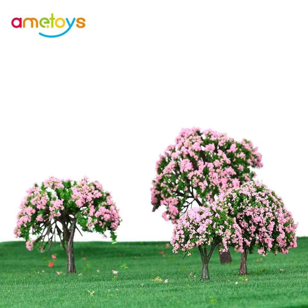 نموذج أشجار بلاستيكي من 4 قطع مُصمم لمساحة الحدائق وأشجار زهرية وأبيض بتصميمات مصغرة