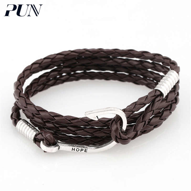PUN fishing hook bracelets bangles braclet hand chain braslet punk personalized charm leather braided bracelet men male female