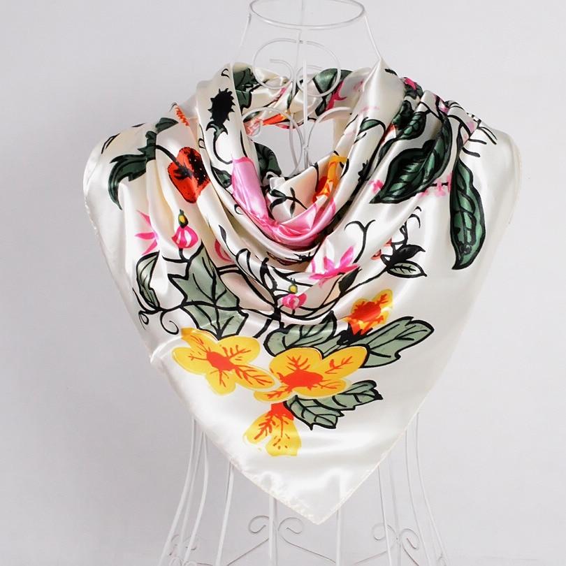 Дизайн женский Шелковый большой квадратный шелковый шарф из полиэстера, 90*90 см горячая Распродажа атласный шарф с принтом для весны, лета, осени, зимы - Цвет: beige white 533