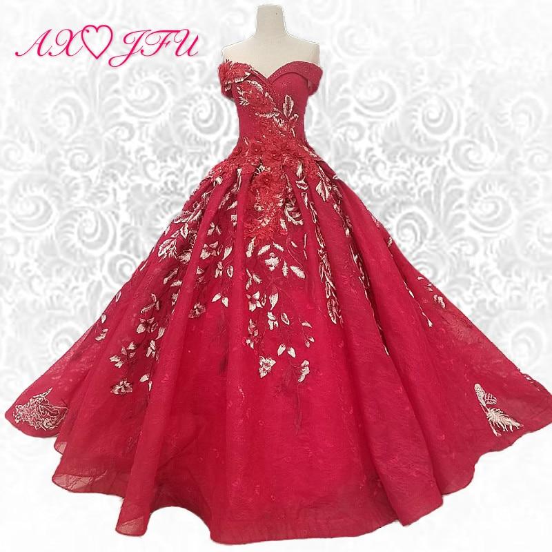AXJFU Luksuzna princesa rdeča roža čoln vrat vintage poročna obleka perla vrtnica rdeča brez naramnic poročna obleka 100% realna fotografija 14650