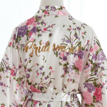 Silk Satin Wedding Bridesmaid Robe Floral Bathrobe Short Kimono Robe Night Robe Sleepwear Make-up Robe Dressing Gown For Women