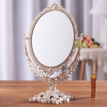Girls Women Makeup Mirror Vintage Floral Oval Round Handhold Mirror Princess Elegant Makeup