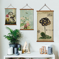 Plant Flowers Poetry Retro Linen Cloth Painting Scrolls Poster Mural Paintings Banners Flag Nordic Rural Style