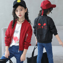 2019 New Spring Girls Jackets for Children Cute Cat Windbreaker Baseball Jacket for Girls Kids Coats Baby Outerwear Clothing недорого