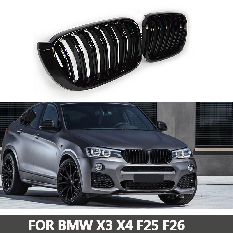 X3 X4 F25 F26 SUV Front Grill Dual Slat Grille Replacement for BMW X Series 2013 + Glossy / matte Black