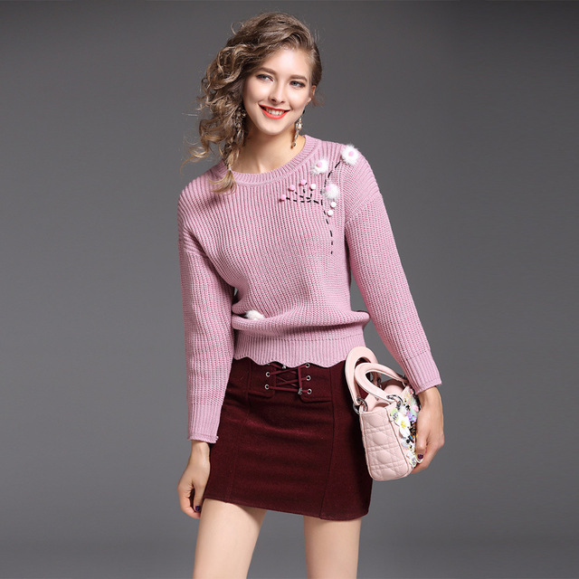 32bbb1c70de 2017 Sweaters Two Piece Sets Pink Sweater Top + Mini Skirt Knitting Set  Autumn Winter Unif Jumper Women s Tracksuits Outfits