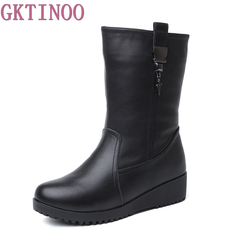 GKTINOO Winter Fashion Women's Snow Boots Genuine Leather Woman Flat Heels Women Middle Tube Boots Ladies Cotton Shoes Warm fedonas new fashion women genuine leather winter warm wool snow boots women ladies flats heels comfortable casual shoes woman