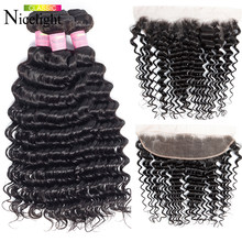 Nicelight Hair Deep Wave Bundles With Frontal Human Hair Peruvian Hair Weave 3 Bundles With Closure Non Remy Hair Extension(China)
