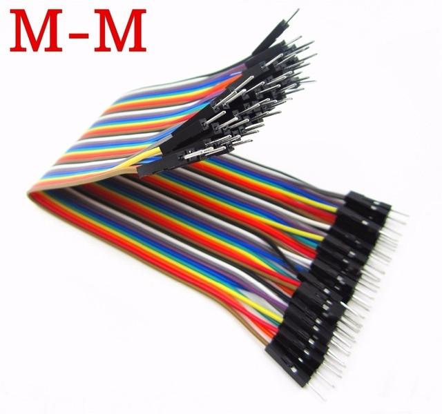 Nuevo Cable Dupont de 40 piezas en fila 20 cm 2,54mm 1pin 1 p-1 p macho a macho de alambre de puente Dropshipping. exclusivo.