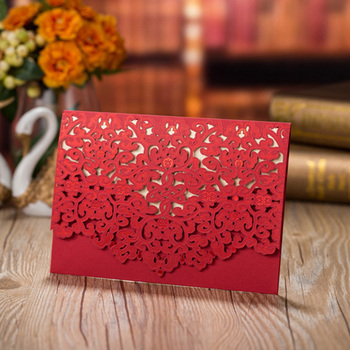 50pcs Blue Red Luxury Flora Laser Cut Wedding Invitation Card Customized Wedding Envelopes Party Wedding Decoration Supplies 1