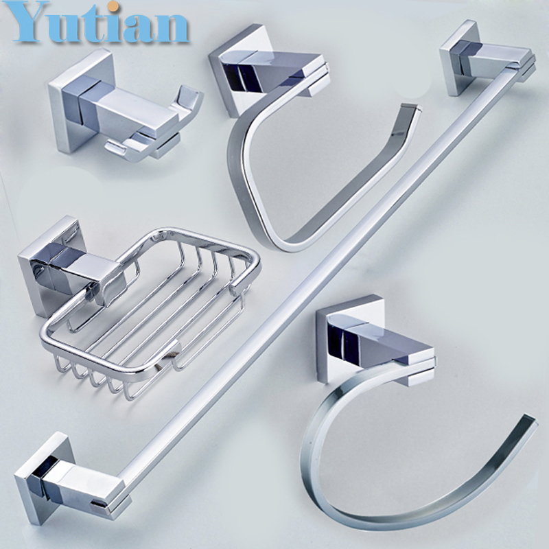 Free shipping,304# Stainless Steel Bathroom Accessories Set,Robe hook,Paper Holder,Towel Bar,Towel ring,bathroom sets,YT-11300-5 fully copper bathroom towel ring holder silver