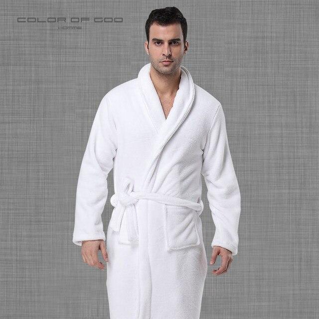 Brand Winter Mens Bathrobe Thick Warm Coral Fleece Night Dressing Gown Pure  White Ropa Hombre Bath Robe Comfort Homme Kimono c1486cdcd