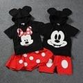 2016 novo estilo bonito Do Bebê Das Meninas do Menino Crianças Minnie Mouse Roupas Encabeça Vestido tutu Conjunto de Roupas Roupa Calças