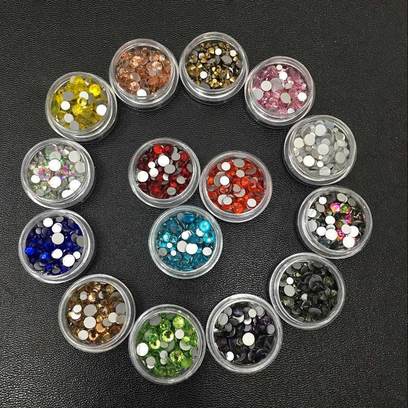 MIX Größe Eine Farbe 3D Nail art Ss6-ss20 Flache Rückseite Kristall dekoration Kleber auf Strass für Nail Stein Diy Shose und Telefon Shell