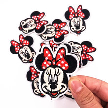 1Pcs Lovely repair Patches Minnie Iron On Patch Sewing On Embroidered Applique Fabric for Jacket Badge Clothes Apparel Stickers(China)