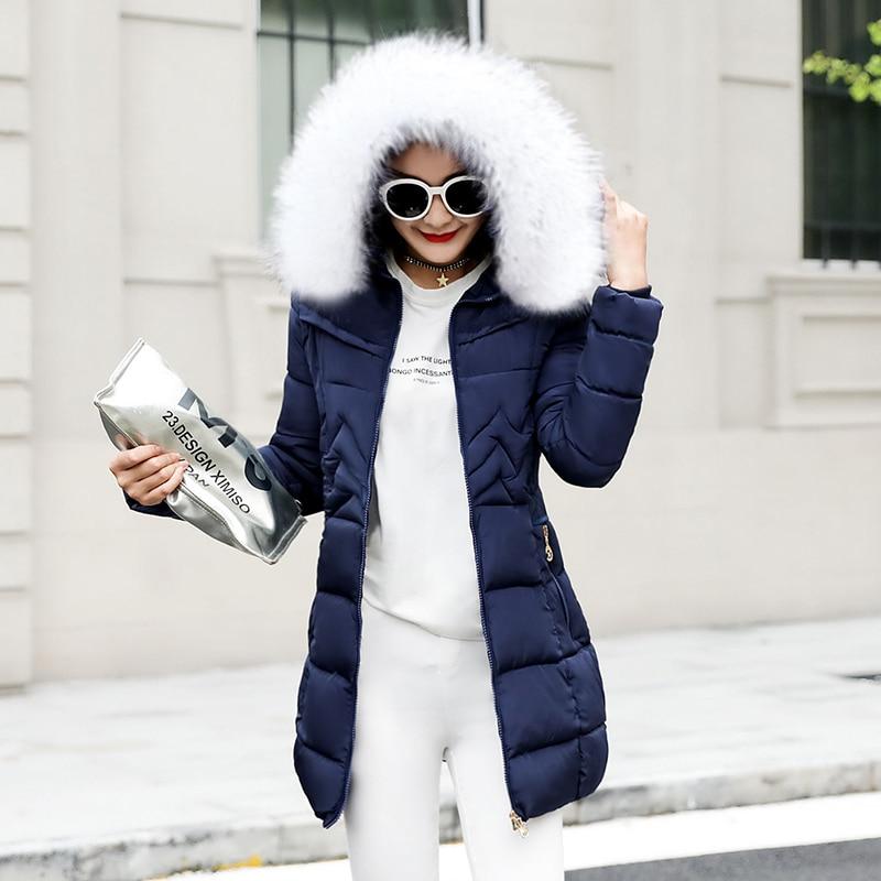économiser d9a7e fc754 € 19.38 55% de réduction Hiver femme longue veste 2019 hiver manteau femmes  fausse fourrure col Parkas femme grande taille S 6XL doudoune hiver veste  ...
